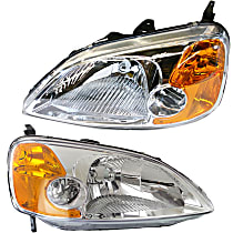 Driver and Passenger Side Headlight, Without bulb(s) - Coupe