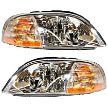 Driver and Passenger Side Halogen Headlight, With Headlight bulb; Without parking and signal light bulb(s)