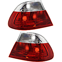 Driver and Passenger Side, Outer Tail Light, Without bulb(s) - Clear & Red Lens, Coupe, To 3-03