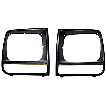 Crown SET-55055136 Headlight Bezel - Black, Direct Fit, Set of 2