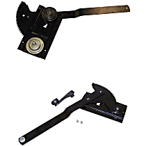 Front, Driver and Passenger Side Manual Window Regulator, Manual Crank Type