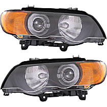 Driver and Passenger Side HID/Xenon Headlight, With bulb(s) - With Yellow Turn Signal