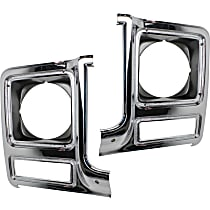 Driver and Passenger Side (Set of 2) Headlight Door, Chrome and painted-dark argent