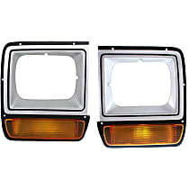Driver and Passenger Side (Set of 2) Headlight Door, Painted Silver