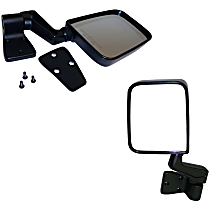 SET-82201772 Driver and Passenger Side Non-Heated Mirror - Manual Glass, Without Signal Light, Black