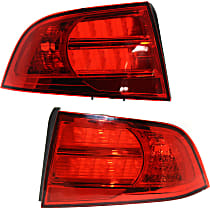 Driver and Passenger Side Tail Light, Without bulb(s) - Red Lens