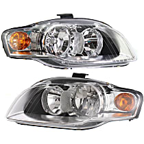 Driver and Passenger Side Halogen Headlight, With bulb(s) - B7 Body Code