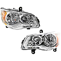 Driver and Passenger Side Halogen Headlight, With bulb(s) - Clear Lens, Chrome Interior