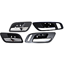 Interior Door Handle - Front (Left with Big Hole/Right with Small Hole) and Rear, Driver and Passenger Side, Black Bezel with Chrome Lever