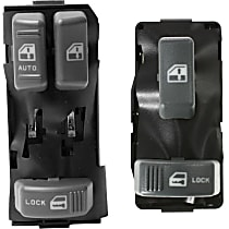 Window Switch - Front, Driver and Passenger Side, Gray, 2-Button and 3-Button, Set of 2