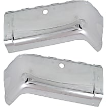 Rear, Driver and Passenger Side Steel Bumper End, Chrome