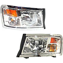 Driver and Passenger Side Headlight, With bulb(s) - Clear Lens, Chrome Interior