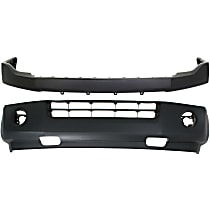 Front, Upper and Lower Bumper Cover - w/ Fender Molding Holes, w/o Parking Aid Sensor Holes