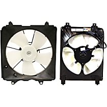 A/C Condenser and Radiator Fan Assembly - Driver and Passenger Side, 1.8L Engine, Sedan/Coupe