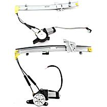 Front, Driver and Passenger Side Power Window Regulator, With Motor - Sedan