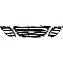 Grille Assembly - Chrome Shell with Painted Black Insert, Center, Driver and Passenger Side