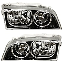 Headlights - Driver and Passenger Side, Pair, 2003-2004 Style, Black Trim, With Bulb(s)