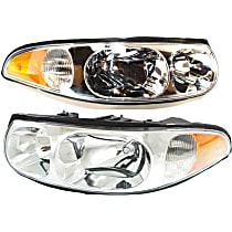 Driver and Passenger Side Halogen Headlight, With Bulb(s) - Custom Model, With Smooth High Beam Surface