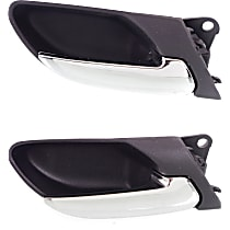 Front and Rear, Passenger Side Interior Door Handle, Black bezel with chrome lever