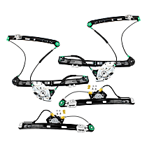 Front and Rear, Driver and Passenger Side Power Window Regulator, Without Motor - Sedan
