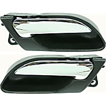 Rear, Driver and Passenger Side Interior Door Handle, Black bezel with chrome lever
