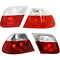 Driver and Passenger Side, Inner and Outer Tail Light, Without bulb(s) - Clear & Red Lens, Conv/Coupe, To 3-03
