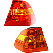 Driver and Passenger Side, Outer Tail Light, Without bulb(s) - Amber & Red Lens, Sedan
