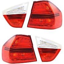Driver and Passenger Side, Inner and Outer Tail Light, Without bulb(s) - Clear & Red Lens, Sedan