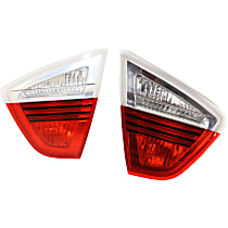 Driver and Passenger Side, Inner Tail Light, Without bulb(s) - Clear & Red Lens, Sedan