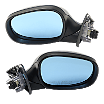 Mirrors - Driver and Passenger Side, Pair, Power, Heated, Manual Folding, Paintable, With Blue Glass, For Wagon
