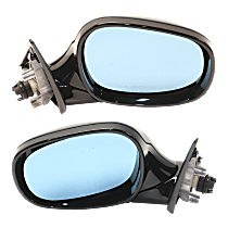 Mirrors - Driver and Passenger Side, Pair, Power, Heated, Manual Folding, Paintable, With Blue Glass, For Wagon, Models With Shadow Line