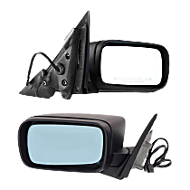 Mirror - Driver and Passenger Side (Pair), Power, Folding, Paintable, For E46 Sedan or Wagon