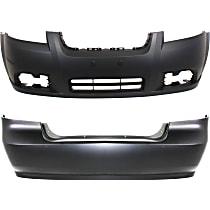 Replacement Bumper Cover - SET-C010375P-2 - Front and Rear, Primed, Sedan, w/o Parking Aid Sensor Holes, w/ Fog Light Holes