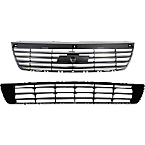 Grille Assembly - Black Shell and Insert, with Front Lower Bumper Grille