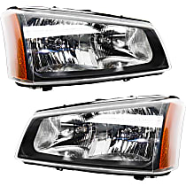 Driver and Passenger Side Halogen Headlight, With Bulb(s) - With Fluted Reflector