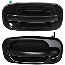 Front, Driver and Passenger Side Exterior Door Handle, Smooth Black