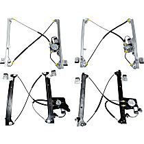 Front and Rear, Driver and Passenger Side Power Window Regulator, With Motor - Crew Cab