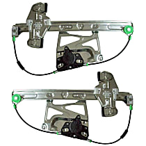 Front, Driver and Passenger Side Power Window Regulator, Without Motor - Sedan