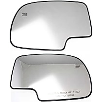 Mirror Glass - Driver and Passenger Side, Heated, Without Turn Signal Light, With Backer Plate