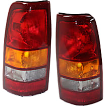 Driver and Passenger Side Tail Light, Without bulb(s) - Amber, Clear & Red Lens, Fleetside