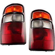 Driver and Passenger Side Tail Light, With bulb(s) - Amber, Clear & Red Lens