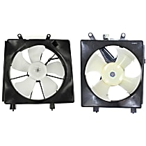 A/C Condenser and Radiator Fan Assembly - Driver and Passenger Side, 1.7L Engine, Sedan/Coupe