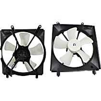 A/C Condenser and Radiator Fan Assembly - Driver and Passenger Side, 6 Cyl. Engine