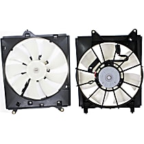 A/C Condenser and Radiator Fan Assembly - Driver and Passenger Side, For Radiators w/ 1-inch Core Thickness