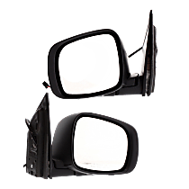 Power Mirror, Driver and Passenger Side, Manual Folding, Heated, w/o Memory and Signal, 2 Caps Paintable & Textured Black