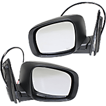 Power Mirror, Driver and Passenger Side, Manual Folding, Heated, w/o Memory and Signal, Textured Black