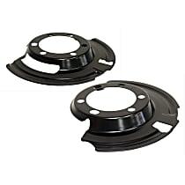 SET-CR52005476-F Brake Dust Shields - Black, Steel, Direct Fit Front, Driver and Passenger Side, Set of 2