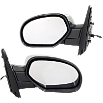Kool Vue Power Mirror, Driver and Passenger Side, Manual Folding, Non-Towing, Heated, w/o Memory, Signal, Puddle Light, Chrome