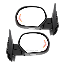 Mirror - Driver and Passenger Side Pair, Power, Heated, Power Fold, w/ Paintable & Textured Black Caps, Turn Signal, Puddle Lamp