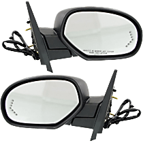 Mirror - Driver and Passenger Side (Pair), Power, Heated, Power Fold, Paintable & Textured Black Caps, w/ Turn Signal & Memory